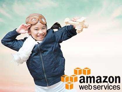 young girl playing wiht wooden airplane amazon aws